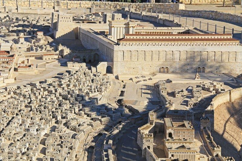 Panoramisches Modell von altem Jerusalem stockfoto