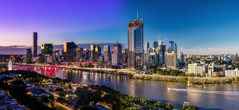 Panoramisches Tag und Nacht Flächenbild von Brisbane CBD und Südba lizenzfreie stockbilder