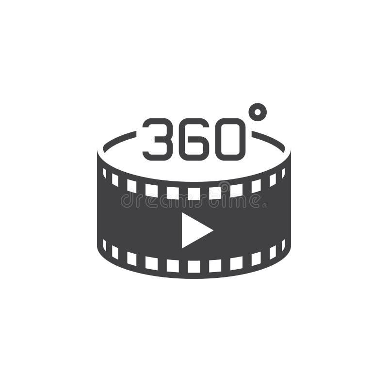 panoramisches Videozeichen von 360 Grad Vektorikone, festes Logo illustr stock abbildung