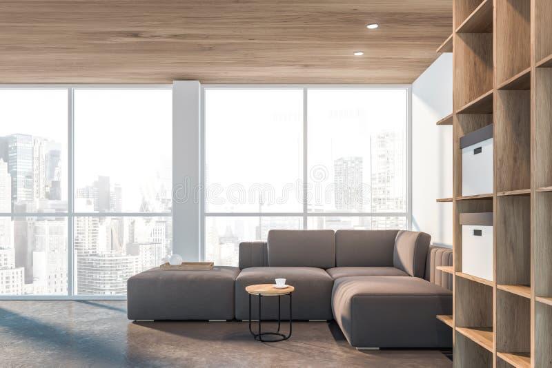 Panoramisches weißes Wohnzimmer, Bücherschrank und Sofa stock abbildung