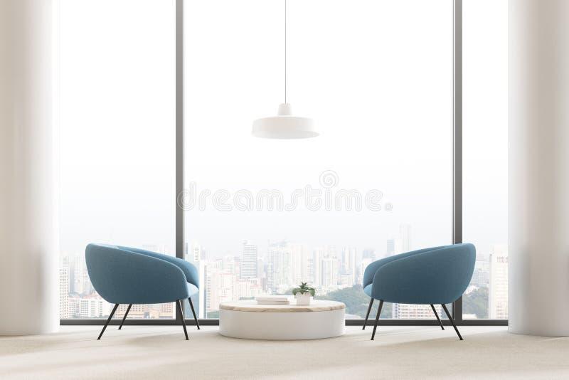 Panoramisches Wohnzimmer Innen, blaue Lehnsessel vektor abbildung