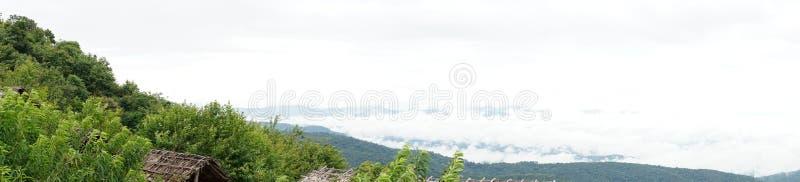 Panoramisk syn på bergen och den abstrakta dimman på himlen, en skogstrandad bergsluttning i ett moln med låg liggande yta med  arkivbild