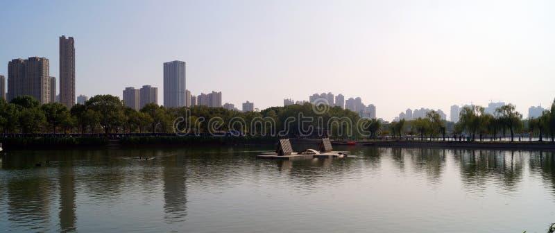 Panoramisk syn på Wuhan China royaltyfria foton
