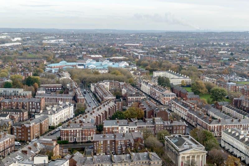Panoramisk vy över Liverpool - nordöstra royaltyfria bilder