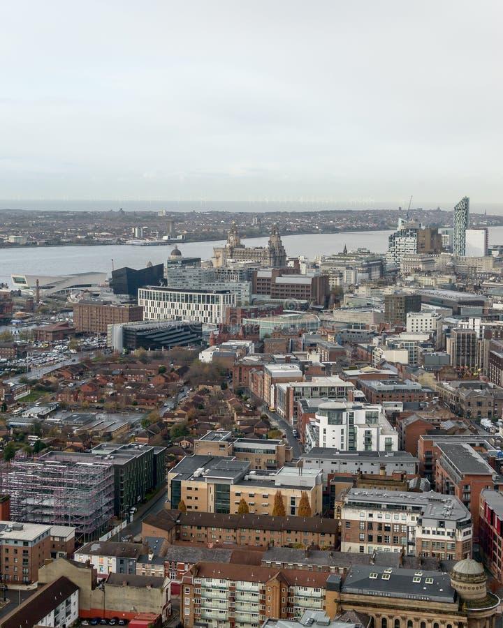 Panoramisk vy över Liverpool - nordväst royaltyfri foto