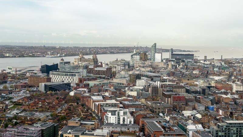 Panoramisk vy över Liverpool - nordvästra sidan fotografering för bildbyråer