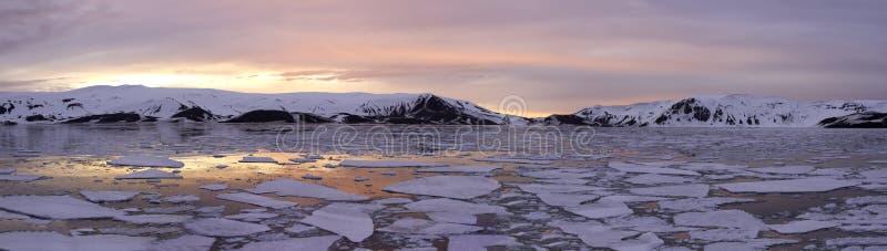 Panoramy Antarctica lata zmierzch fotografia royalty free