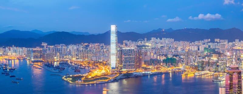 Panoramy Hong Kong linia horyzontu zdjęcie stock