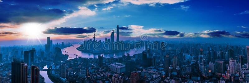 Panoramy miasta widok SZANGHAJ, CHINY zdjęcia royalty free