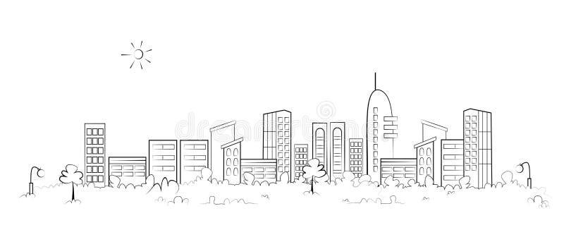 Panoramy miasteczko ilustracja wektor