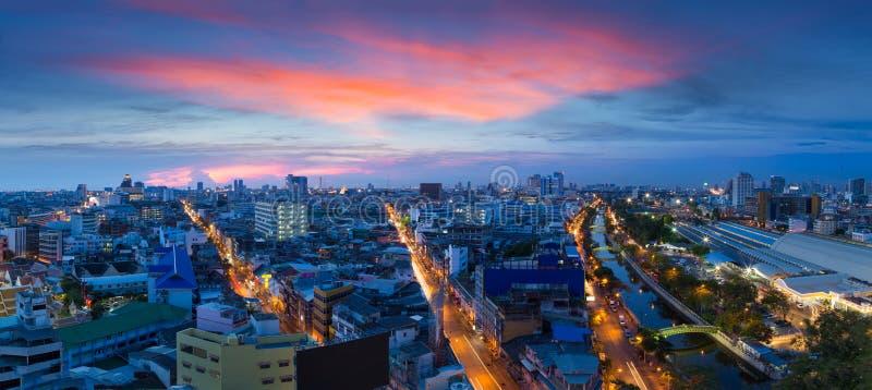 Panoramy miasto przy zmierzchem, Bangkok Tajlandia obraz royalty free