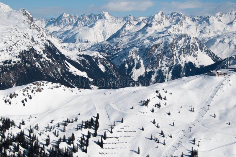 panoramy piękna halna zima obraz royalty free