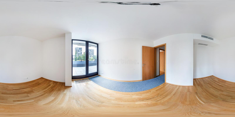 Panoramy 360 widok w nowożytnego bielu loft mieszkania pustym wnętrzu żywa izbowa sala, folujący bezszwowi 360 stopni kąta widoku zdjęcie stock