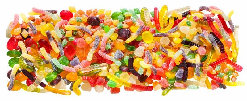 Panoramy zamknięty up tło od kolorowych cukierków cukier puszka zdjęcie royalty free
