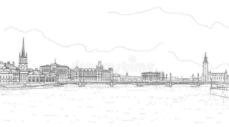 Panorava της Στοκχόλμης διανυσματική απεικόνιση