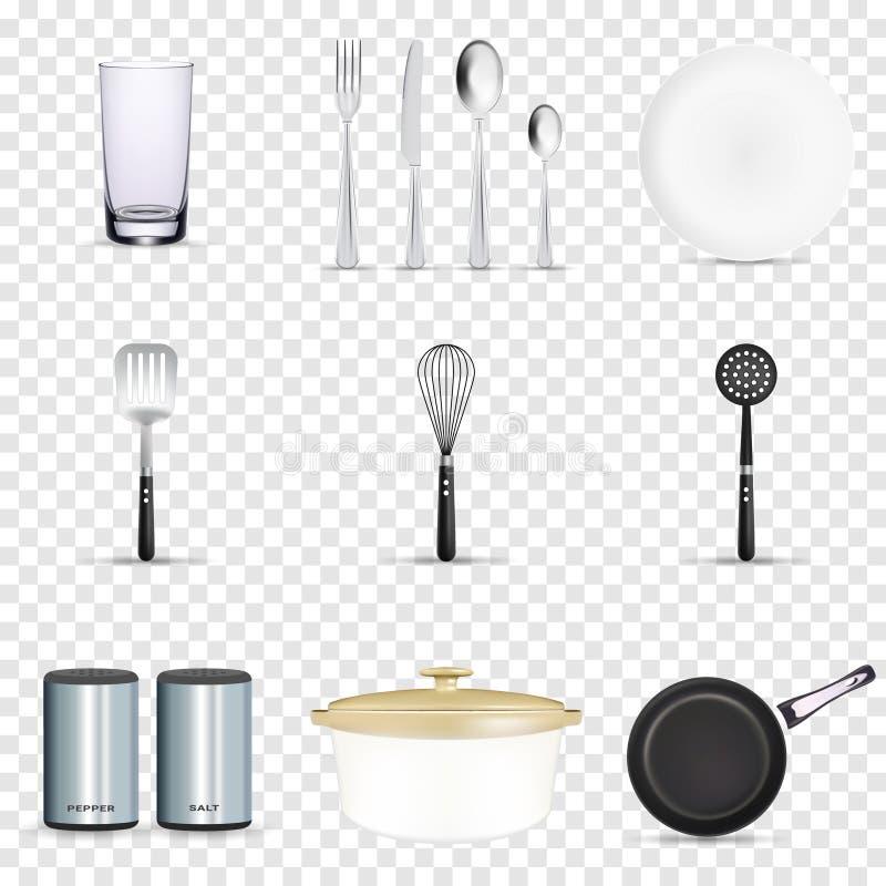 Panorera den vektorkitchenware eller cookwaren f?r att laga mat mat med upps?ttningen f?r illustrationen f?r den k?kredskapbestic royaltyfri illustrationer
