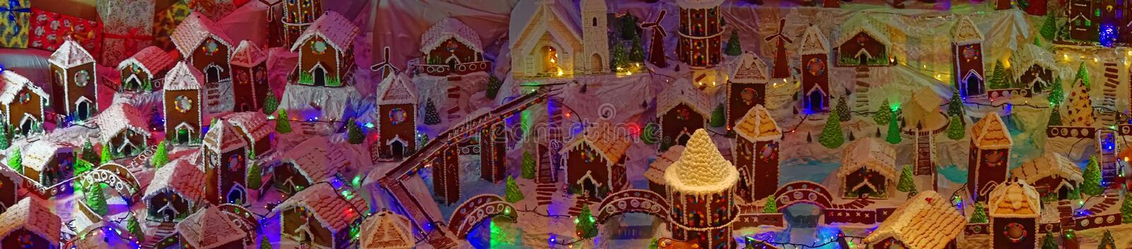 Panorma of a Gingerbread Village royalty free stock photography