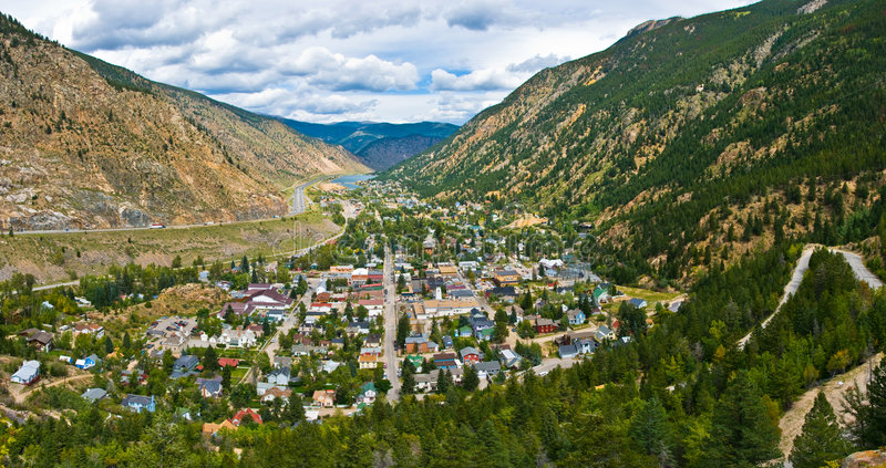 Panorma of historic Georgetown, Colorado stock photography