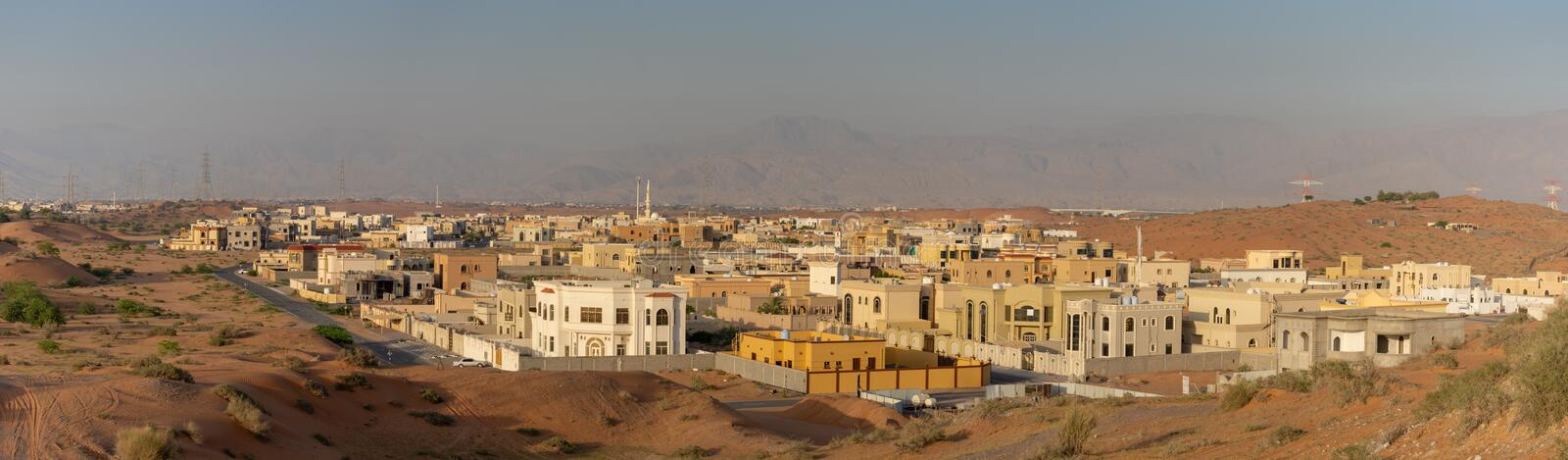 Panorma of residential area with construction in Ras al Khaimah, United Arab Emirates UAE. Ras al Khaimah, RAK/ United Arab Emirates - 5/2/2019: Panorama of royalty free stock photo