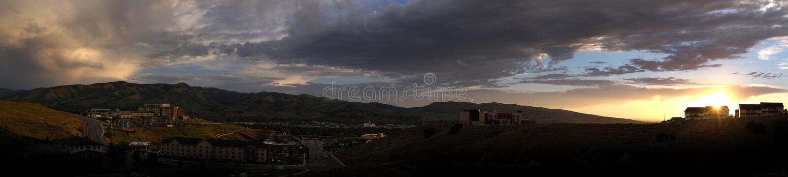 Panormaic of Pocatello Idaho at Sunset stock photography