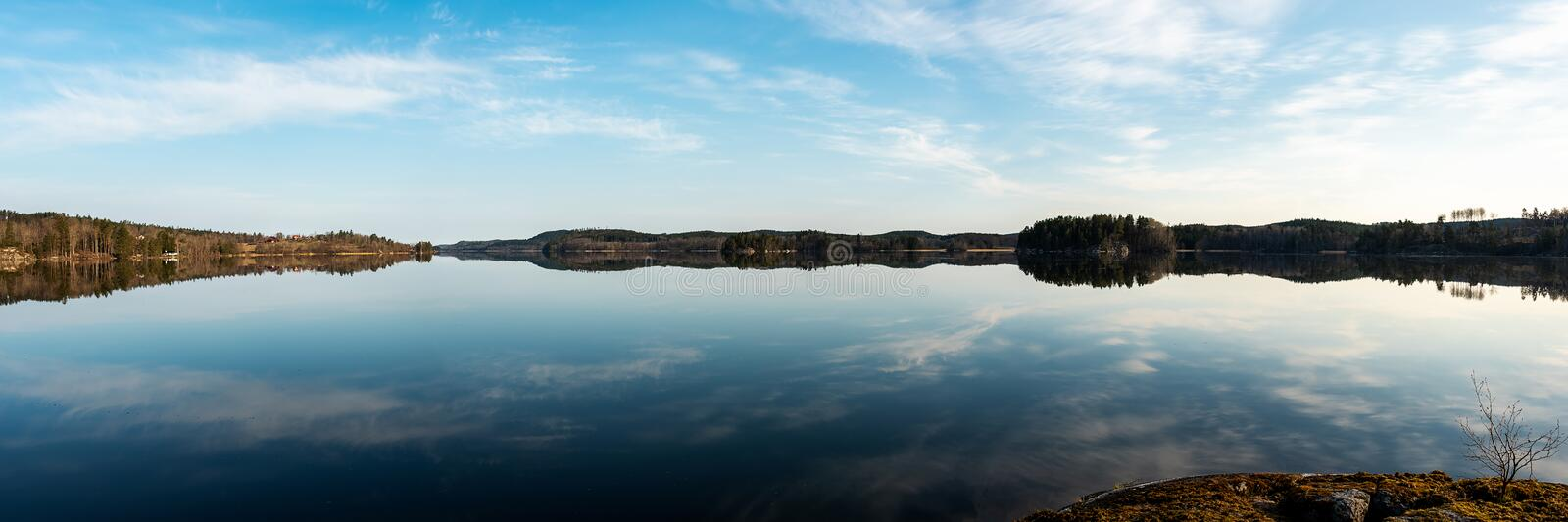 Panormaic view of lake stock photography