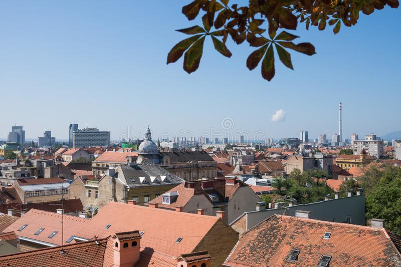 Panoramic view over city center of Zagreb royalty free stock images