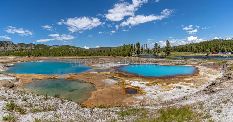 Panormiic of Black Opal Pool at Biscuit Basin stock photos
