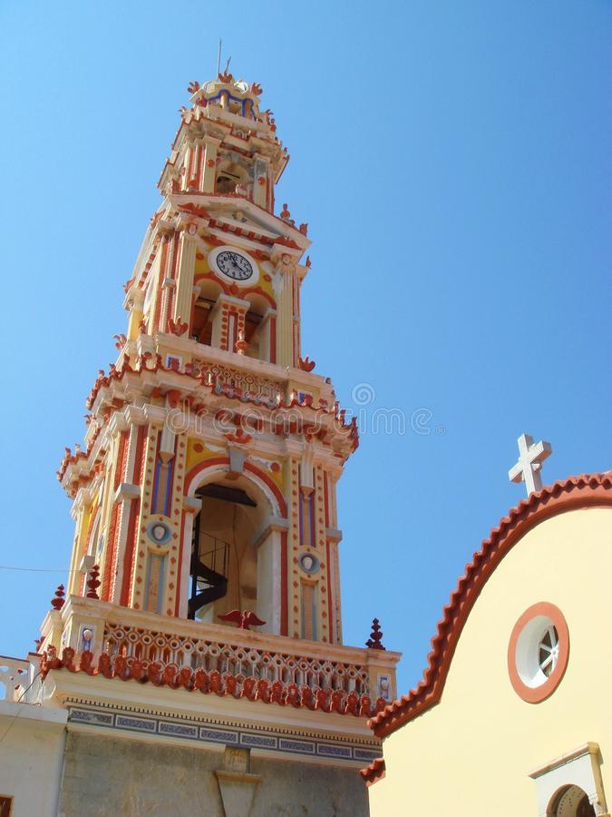The Panormitis bell-tower in the monastery royalty free stock images