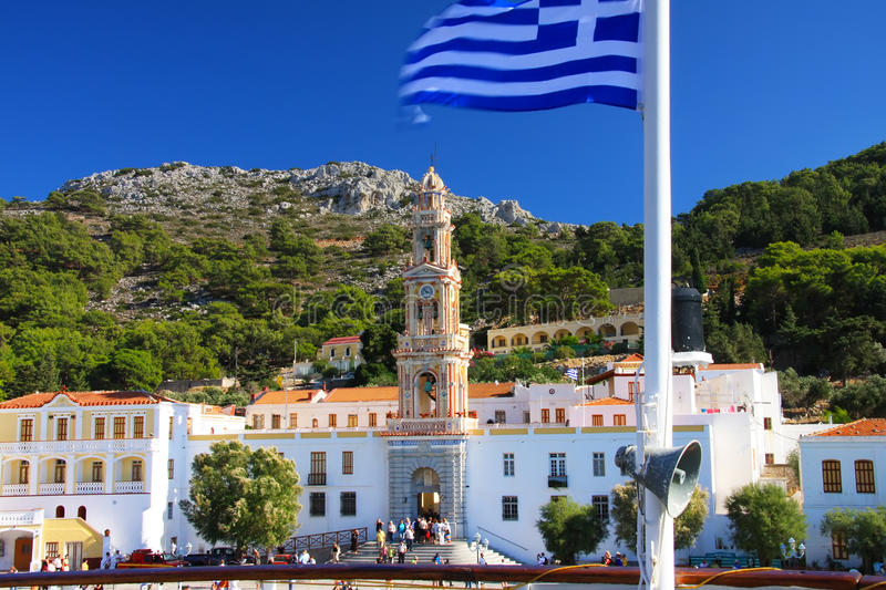 Panormitis Monastery in Symi island, in Greece royalty free stock images
