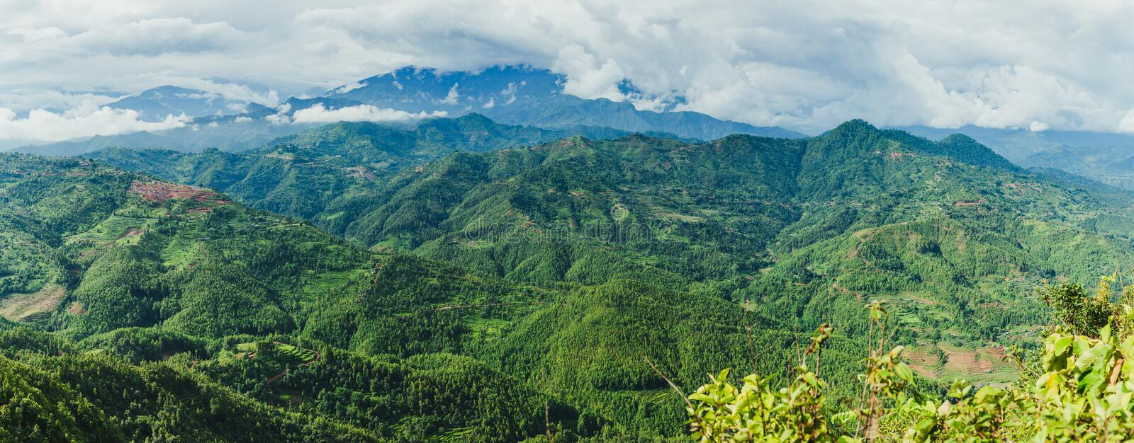 Panoromic View of Beautiful Nepali Village sorrounded by the Green Forest,Mountain Village,Gorkha Nepal stock images
