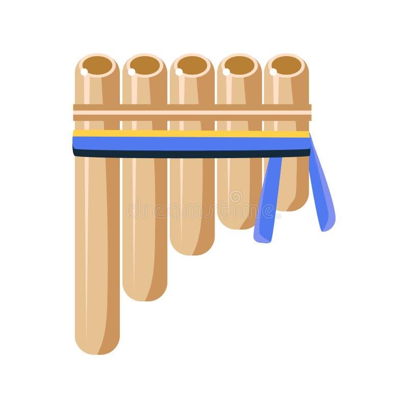 Panpipesflöjtmusikinstrumentet, indiskt kultursymbol för indian, etniskt objekt från Nordamerika isolerade symbolen royaltyfri illustrationer