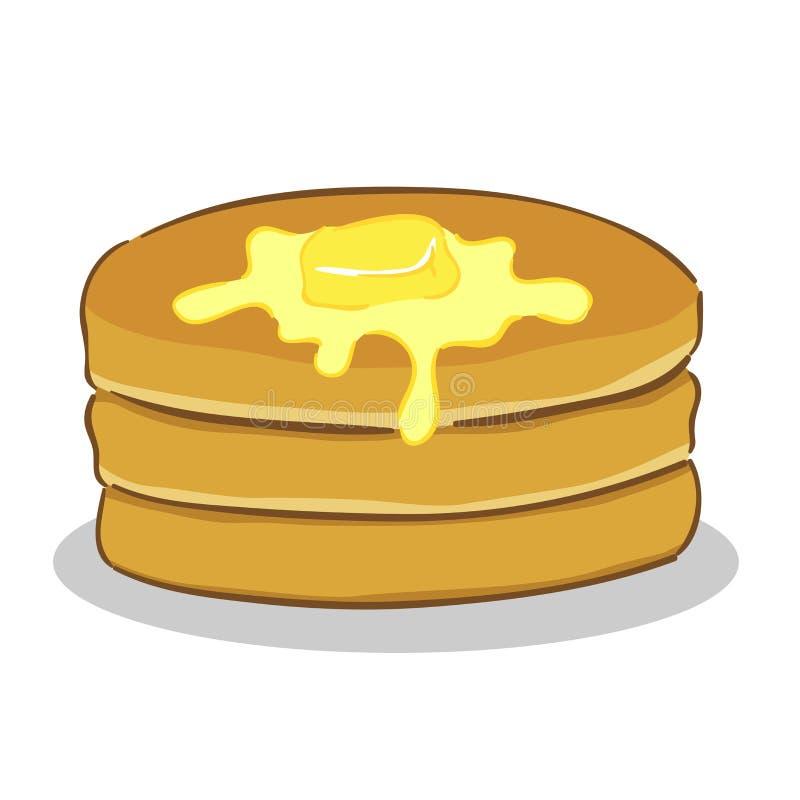 Panqueca com manteiga ilustração royalty free