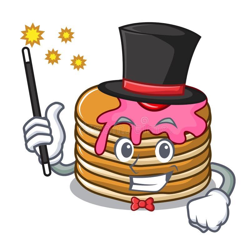 Panqueca do mágico com desenhos animados da mascote da morango ilustração do vetor