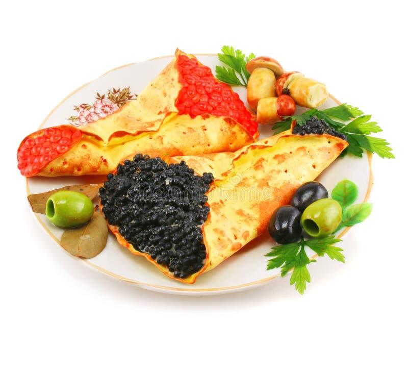 panquecas Caviar-enchidas fotografia de stock royalty free