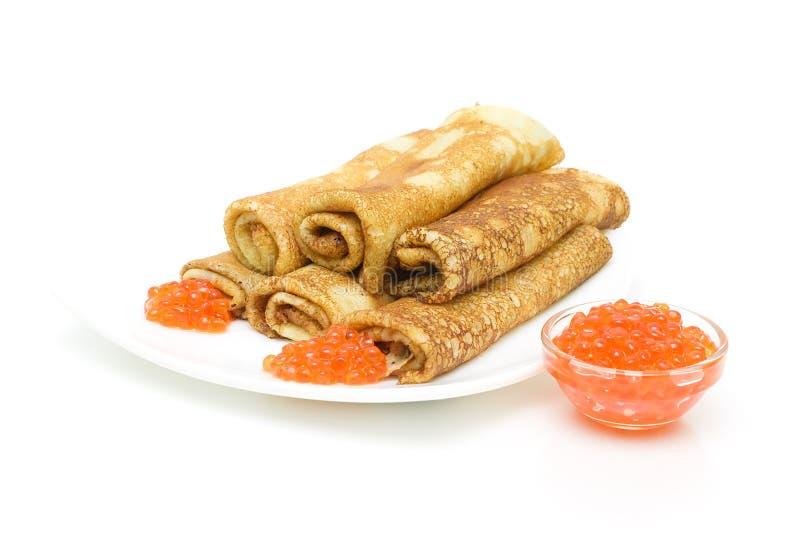 Download Panquecas Com Caviar Vermelho Em Um Fundo Branco Imagem de Stock - Imagem de ovos, alimento: 29828337