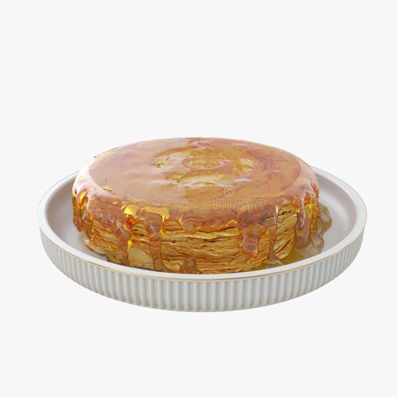 Panquecas com mel 3d para render imagens de stock