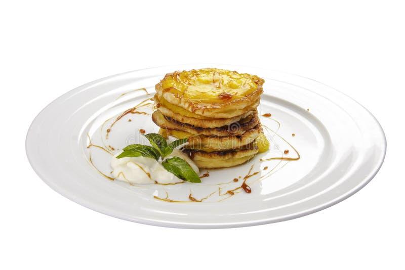 Panquecas com mel Sobremesa tradicional h?ngara fotografia de stock royalty free