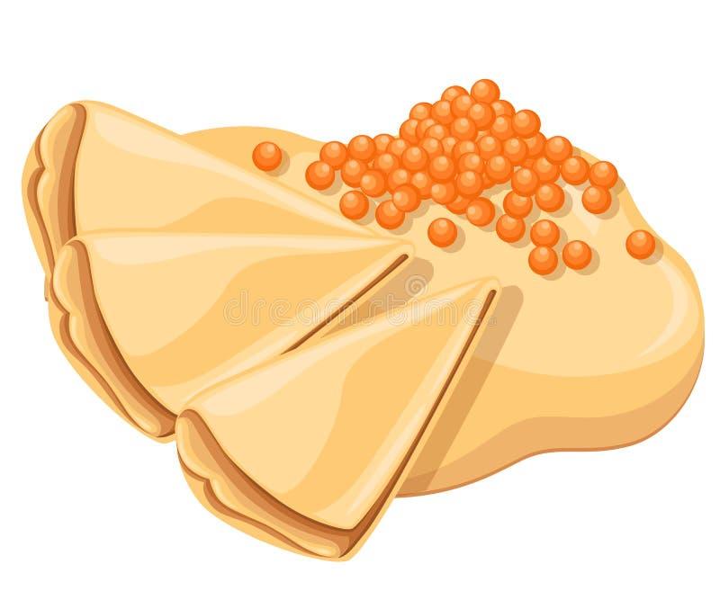 Panquecas com o caviar vermelho salmon Envolvimento da panqueca Prato festivo saboroso Ilustração do vetor isolada no fundo branc ilustração do vetor
