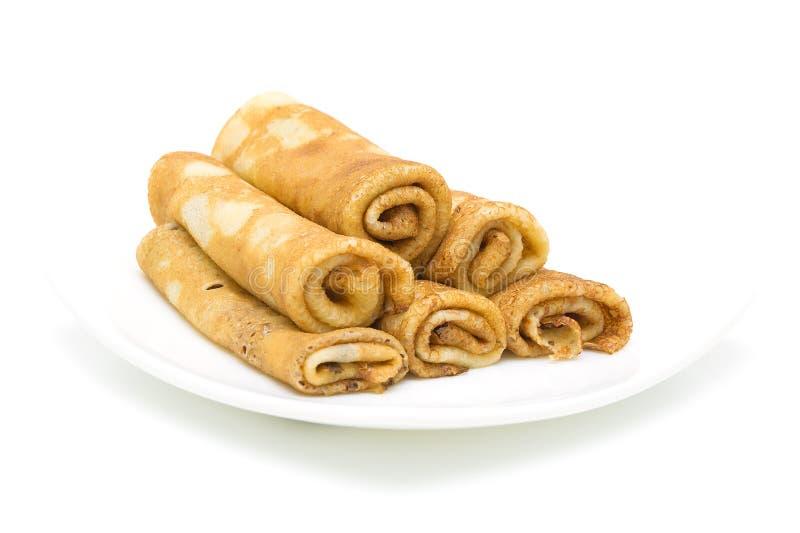 Download Panquecas Em Uma Placa No Fundo Branco Imagem de Stock - Imagem de breakfast, prato: 29829789