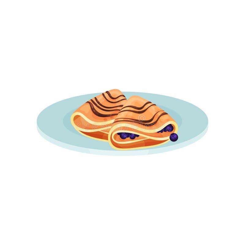 Panquecas envolvidas com mirtilo, alimento para a ilustração do vetor do café da manhã em um fundo branco ilustração do vetor