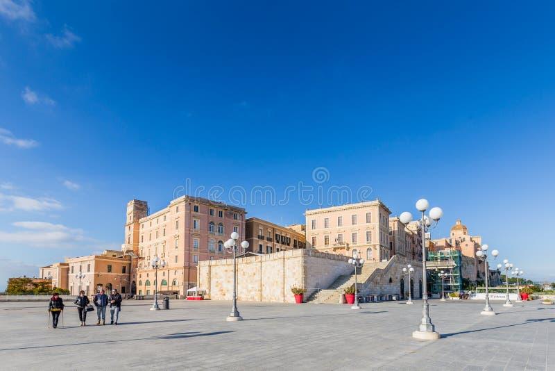 Panroamic tarasuje Umberto w Cagliari, Sardinia, Włochy zdjęcie stock