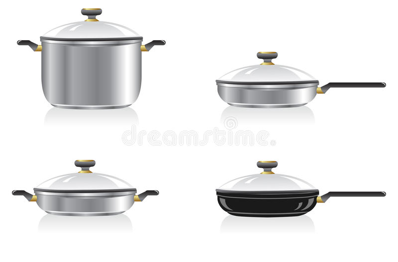 Pans and frying pans. Short and tall pan and frying pan, stainless steell. Isolated on a white. Vector illustration stock illustration