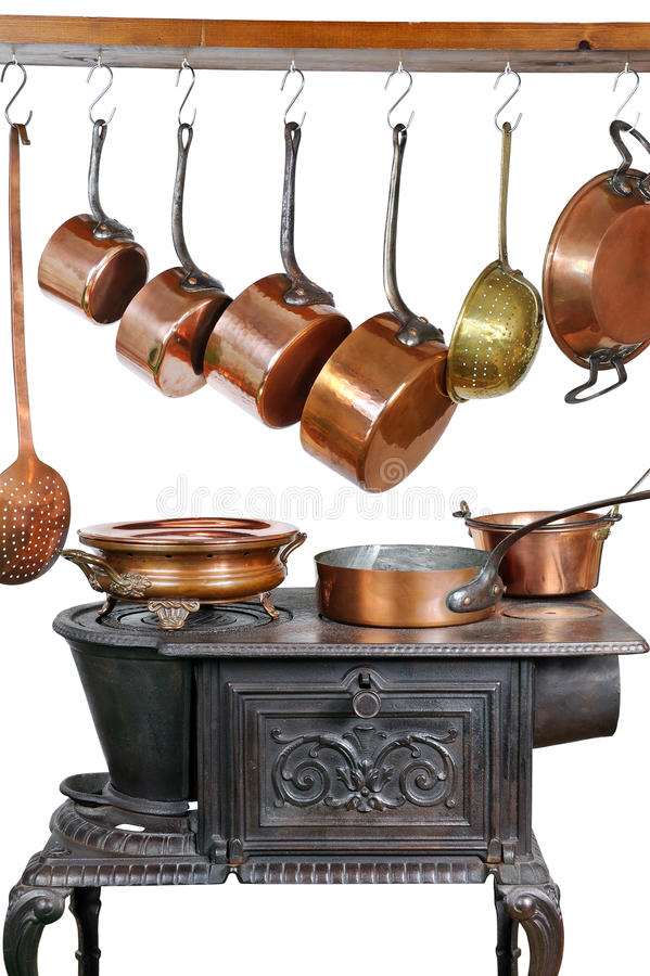 Pans And Stove Three Stock Photos
