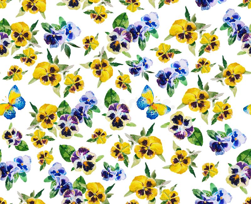 Pansy and butterfly watercolor seamless pattern on white background with leaves and flowers royalty free illustration