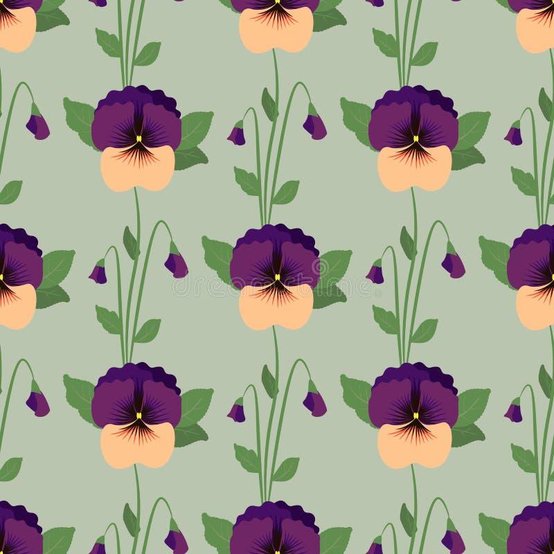 Безшовная картина с цветками pansy r бесплатная иллюстрация