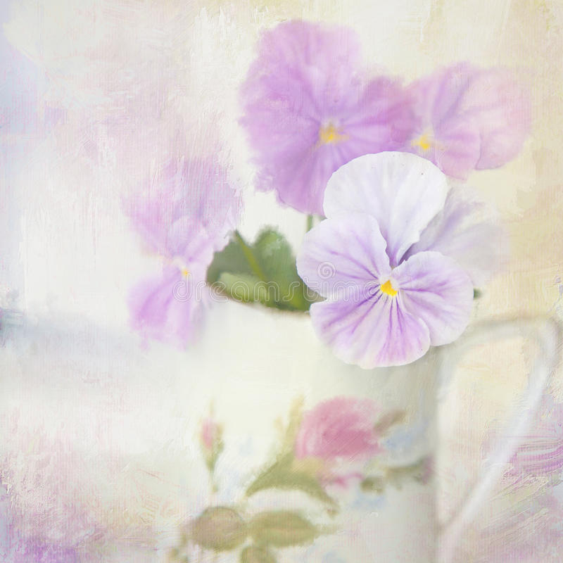 Pansy. Flower card. stock photo