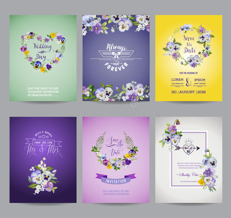 Pansy Flowers Card Set d'annata royalty illustrazione gratis