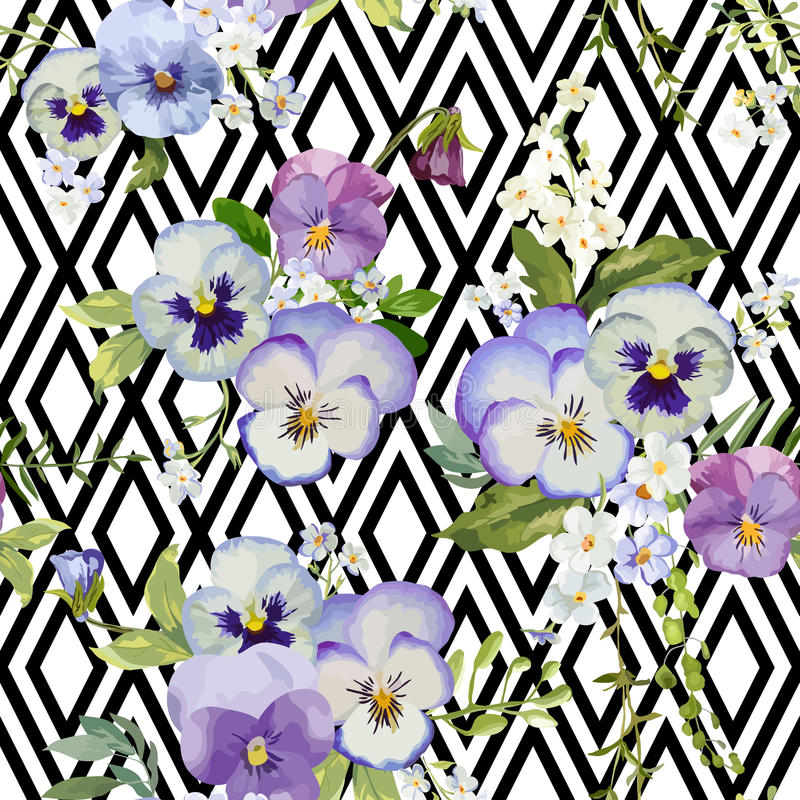 Pansy Flowers Geometric Background illustration de vecteur