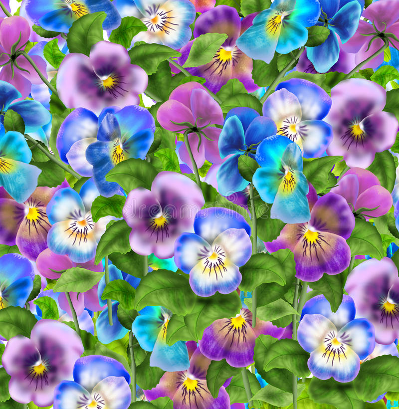 Free Pansy Flowers Pattern 2019 Watercolor Hand Drawn Illustration Floral Wallpaper Stock Image - 67126661