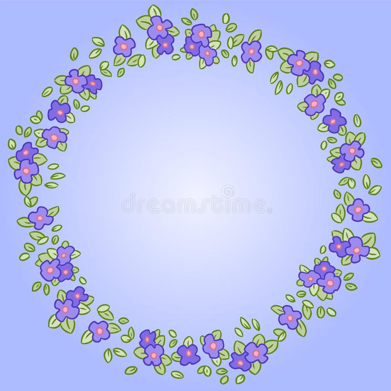 Pansy or Viola flowers and leaves round wreath royalty free illustration